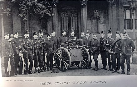 Late 19th-century volunteers of the 22nd Middlesex Rifle Volunteers (Central London Rangers) Central London Rangers, 1896.jpg