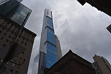Central Park Tower as seen from the ground in December 2020