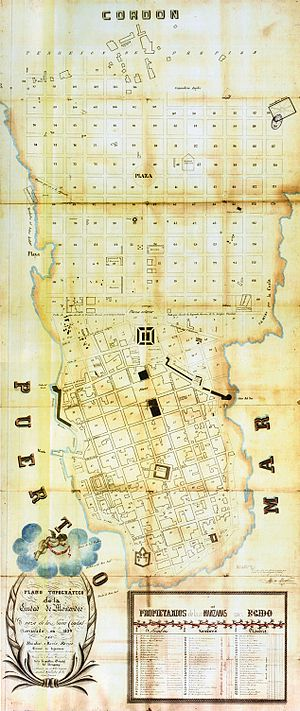 Centro, Montevideo - 1829 map of the proprosed extension of the Ciudad Vieja