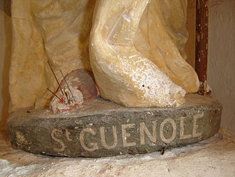 Phallic saint - The feet of the statue of Saint Guénolé (Winwaloe, Guignolé), in a chapel of Prigny (Loire-Atlantique), are pierced with needles by local girls who hope to find their soulmates in this way.