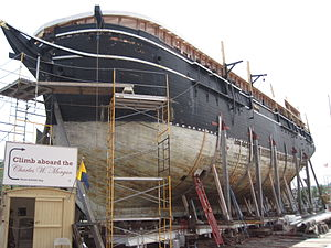 Charles W. Morgan (ship) - Charles W. Morgan in dry-dock undergoing restoration