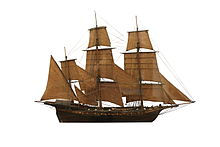 A photograph of a model of a sailing vessel.