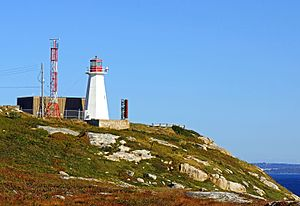 Heritage Lighthouse Protection Act - Chebucto Head Lighthouse, at left where the Lighthouse Protection act campaign was launched