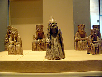 National Museum of Scotland - Some of the 11 Lewis chessmen in Edinburgh