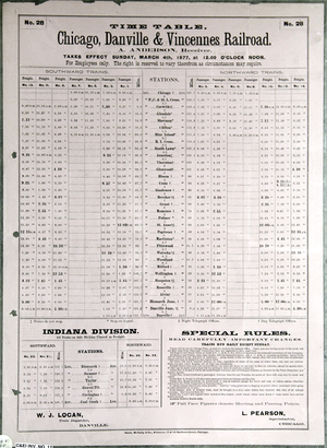 Chicago, Danville and Vincennes Railroad - Image: Chicago, Danville and Vincennes Railroad timetable 1877