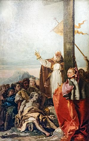 Macarius of Jerusalem - The Finding of the True Cross (Giandomenico Tiepolo), where Bishop Macarius blesses the sick with the True Cross