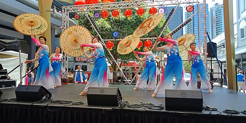 Chinese Dancers during the Chinese Lunar New Year Celebrations in the Chinatown Mall, Brisbane, Queensland, Australia. (10 February 2019, 13:29:02)