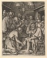 Christ kneeling and washing St Peter's feet, after Dürer MET DP820314.jpg