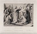 Christ raises Lazarus from his tomb. Etching by F. Ludy afte Wellcome V0034555.jpg