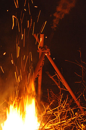 English: A Christmas bonfire in Guelph, Canada.