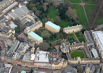 Sidney Street, Cambridge - Aerial view with the southern end of Sidney Street in the foreground (centre and left) and Christ's College in the background.