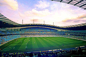 2021 Rugby League World Cup - Image: City of Manchester Stadium East Stand