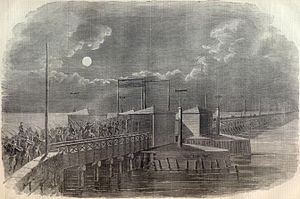 Fort Reynolds (Virginia) - Union soldiers cross the Long Bridge during the occupation of northern Virginia following that state's secession from the Union.