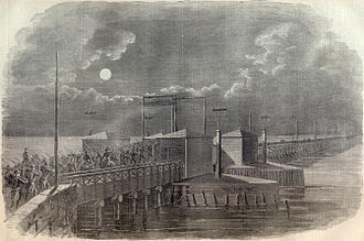 14th Street Bridges - Union Army troops crossing Long Bridge, 1861