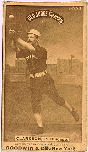 1886 World Series - Chicago pitcher John Clarkson (1861-1909) started 4 games of the 6 game series, going 2-2 with 3 complete games and a 2.03 earned run average.