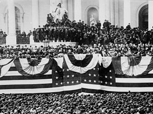 First inauguration of Grover Cleveland - Cleveland delivering his inaugural address.