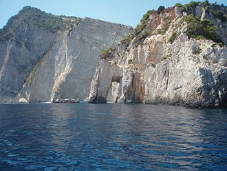 Zakynthos - Cliffs and stone arches at Cape Marathia