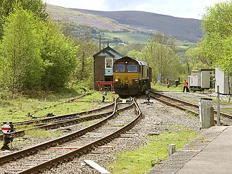 Amman Valley Railway - EWS Class 66 joins the Amman Valley railway branch just south of Pantyffynnon, as it heads towards the opencast mine near Gwaun-cae-Gurwen