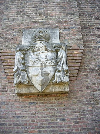 Leonard Courtney, 1st Baron Courtney of Penwith - Arms of Baron Courtney of Penwith, wall of St John's College, Cambridge, Bridge Street. A difference of the arms of Courtenay Earl of Devon
