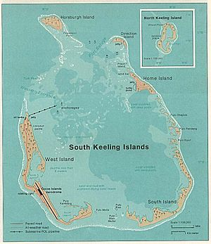Cocos (Keeling) Islands - 1976 map of South Keeling Islands.