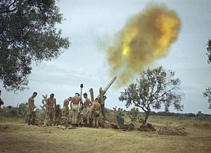 BL 4.5-inch Medium Field Gun - A British 4.5 inch gun firing in Tunisia, 1943