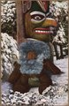 "Color post card. ""1923-An Eskimo Teddy Bear."" (Eskimo baby sleeping at foot of a totem pole. - NARA - 297749.tif"