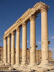 Columns in the inner court of the Bel Temple Palmyra Syria