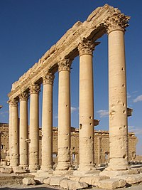 Columns in the inner court of the Bel Temple Palmyra Syria.JPG