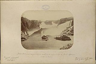 Vista geral das principaes cachoeiras superiores de Paulo Affonso vistas de baixo