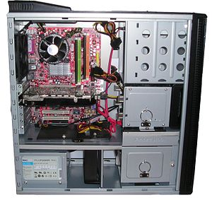 Computer hardware - Inside a custom-built computer: power supply at the bottom has its own cooling fan