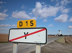 Road sign marking the end of the village of Y in the Somme département, Picardie.