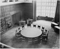 Conference table at Cecilienhof Palace, site of the Potsdam Conference in Potsdam, Germany. The table is covered with... - NARA - 198965.tif