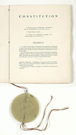 Great Seal - The Great Seal of France attached to the French Constitution of 1958.