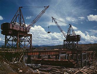 Douglas Dam - Construction work at Douglas Dam, 1942.
