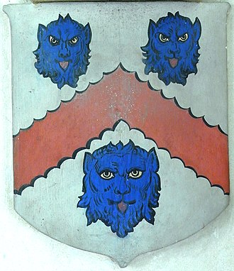 Eggesford - Arms of Copleston of Eggesford: Argent, a chevron engrailed gules between three lion's faces azure. From monument to Edward Chichester, 1st Viscount Chichester (1568–1648) and his wife Anne Copleston (1588–1616), Eggesford Church