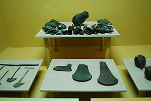 Metallurgy in pre-Columbian Mesoamerica - Copper bells, axe heads  and ornaments from various parts of Chiapas (1200-1500) on display at the Regional Museum in Tuxtla Gutierrez, Chiapas.