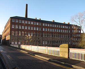 Cornish Place - The east range of the works seen from the Ball Street bridge over the River Don.