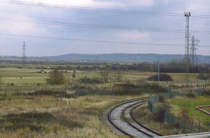 Corringham Light Railway - The site of the junction between lines to Corringham (lifted) on the left, Kynochtown (later Corytown) on the right and Thames Haven in the foreground.