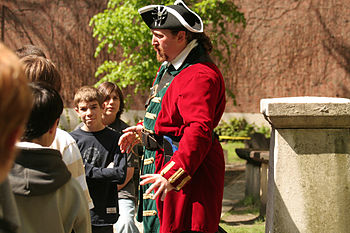 Tour guide at Paul Revere's Grave, Boston MA