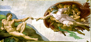 Renaissance art - Michelangelo, (c. 1511) The Creation of Adam, from the Sistine Chapel ceiling