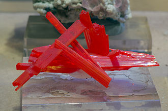Chromate and dichromate - Crocoite specimen from the Red Lead Mine, Tasmania, Australia