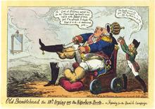 Englische Karikatur Ludwigs XVIII. auf die Intervention in Spanien (1823) (Quelle: Wikimedia)