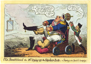 Hundred Thousand Sons of Saint Louis - Louis XVIII trying on Napoleon's boots. Caricature by George Cruikshank about the French Intervention in Spain.