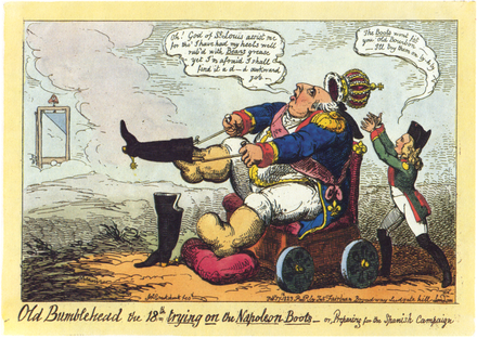 Old Bumblehead the 18th trying on the Napoleon Boots - or, Preparing for the Spanish Campaign, by George Cruikshank, mocking the French intervention in Spain Cruikshank - Old Bumblehead.png