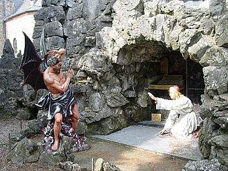 Crupet - Statue of the devil in the Grotto in Crupet