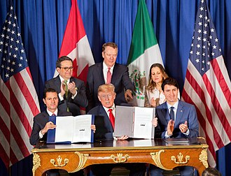 2018 G20 Buenos Aires summit - President Enrique Peña Nieto, President Donald Trump, and Prime Minister Justin Trudeau signed the USMCA agreement.