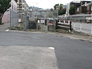 Twin Peaks Tunnel - The new (closed) eastern portal, nearer the former Eureka Station.