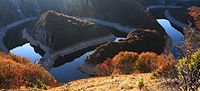 Curving meanders in Special Nature Reserve Uvac River canyon valley, Serbia