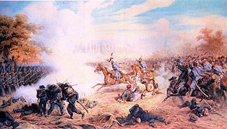 Third Italian War of Independence - Austrian Uhlans charge Italian Bersaglieri during the Battle of Custoza. Painting by Juliusz Kossak