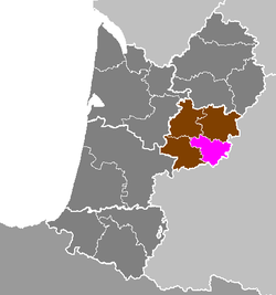 Location of Agen in Aquitaine